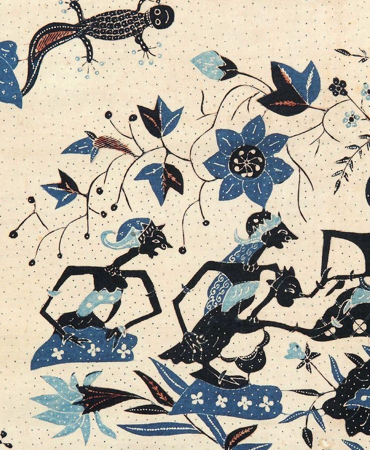 Batik featuring wayang #blue