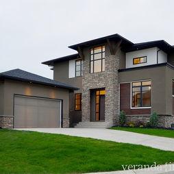 Modern Exterior Trim exterior house color: bm fairview taupe w/ black trim. love it