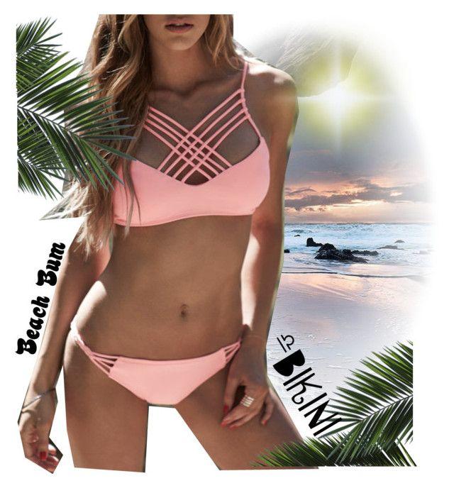 """Beach Bum Bikini Babe"" by jay-sigala ❤ liked on Polyvore featuring WithChic, GetTheLook, bikini, beachbum and Swimsuits"