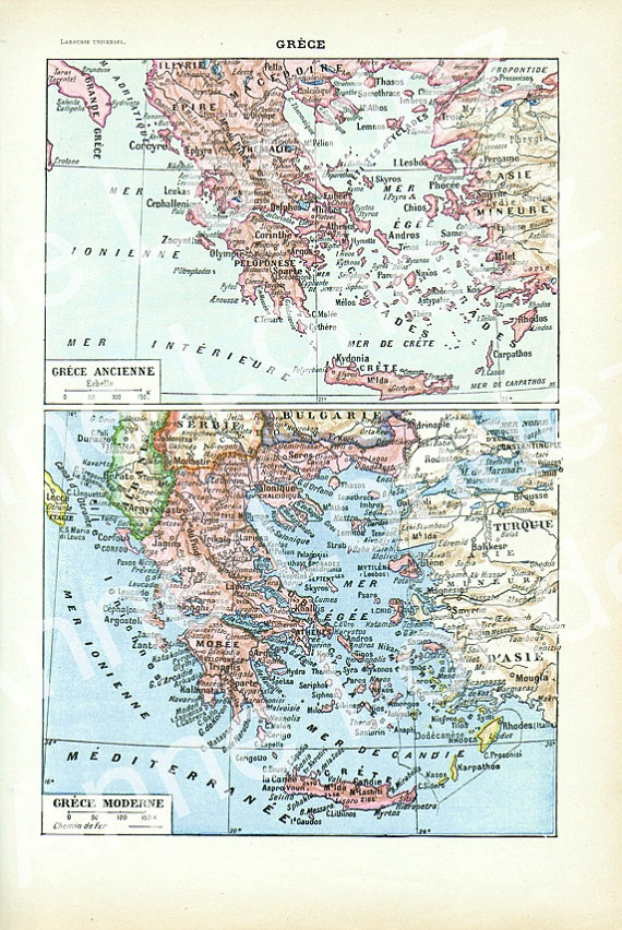 Old French Greece map vintage French dictionary by annelondez1, $19.00