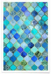 Cobalt Moroccan Tile Pattern - Premium Poster