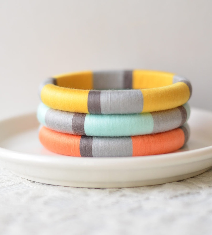 Set of 3 Thread Wrapped Bangle Bracelets - Pastel | Jewelry | The Glossy Queen | Scoutmob Shoppe | Product Detail