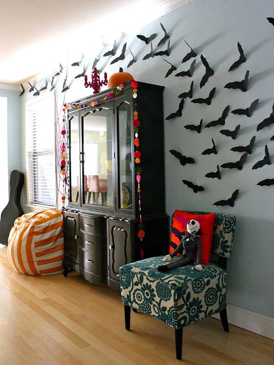 a flock of paper bats or birds makes for awesome halloween wall decor