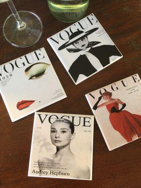 Vintage vogue Covers Handcrafted Ceramic Tile Coaster 10cm X 10 cm 4 Pack   eBay