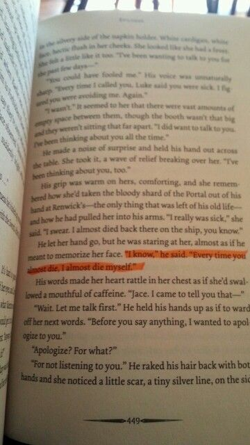 City of ashes awwwww i LOVED this part!! And i highlighted it too lol