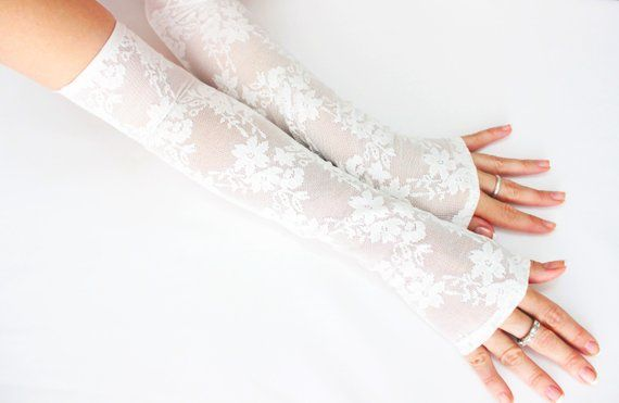White long lace gloves, wedding accessories, wedding long gloves, fingerless bridal gloves, wristlet cuff glovelet, boho bride, wedding gift | THE EDIT Magazin…