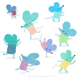 illustration, dancing mice, colors, cute, kids, fun, blue, green, purple, dancers, mouse