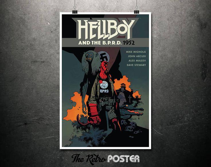 Hellboy & The B.P.R.D. - 1952 - Comic Art, Comic Book Art, Hellboy Poster, Hellboy Print, Superhero Wall Art, Superhero Print by TheRetroPoster on Etsy