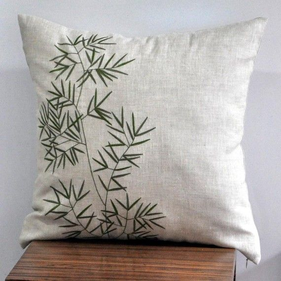 Bamboo Throw Pillow Cover Natural Linen Green Bamboo by KainKain