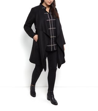 Plus Size Black Waterfall Coat