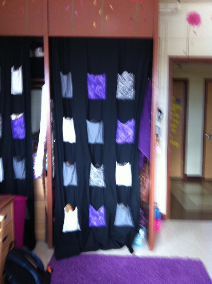 Dorm Room Closet: Dorm Room Closet, No Door. These Pocket Curtains Were Easy