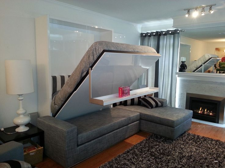 Modern Murphy Beds: Sectional Sofa Modern Murphy Bed With Couch Wall Bed  Sofa Sectional Three Seat Sofa Slatted Wood Bed Base Storage Built Into  Base ...