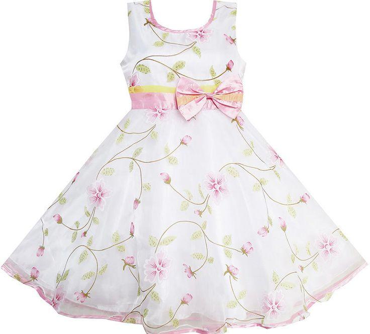 Mädchen Kleid Blume Blätter Hochzeit Weiß Festzug Brautjungfer Kind Kleidung