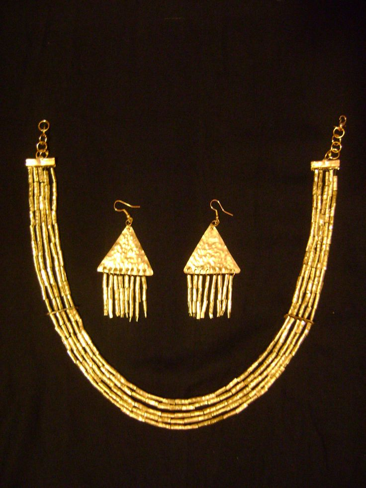 Ancient Egyptian style necklace and earrings