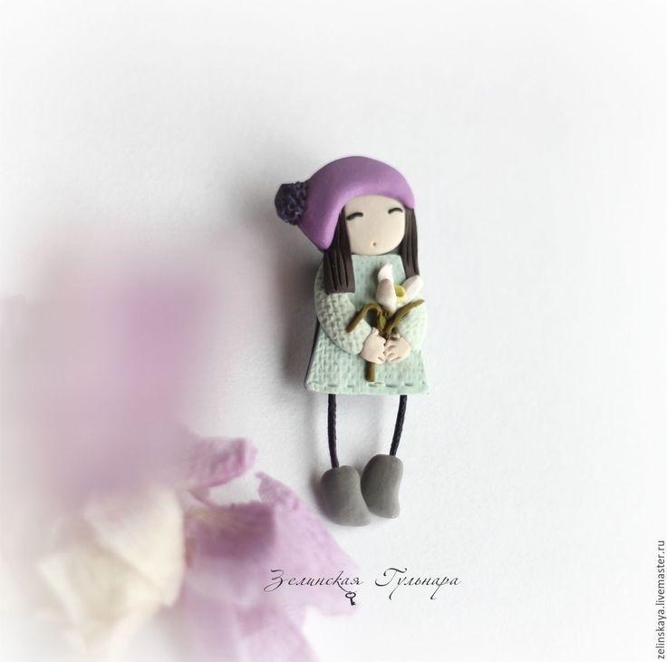 Купить Аделина. Брошь - брусничный, лиловый, розовый, брошь девочка, брошь из полимерной глины, миниатюра