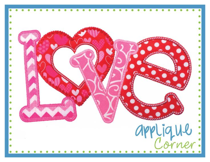 Instant download love horizontal valentine s day applique
