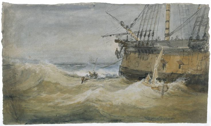 Artist  Joseph Mallord William Turner (1775‑1851)  Title  Small Boats beside a Man-of-War  Date  c.1796  Medium  Gouache and watercolour on paper