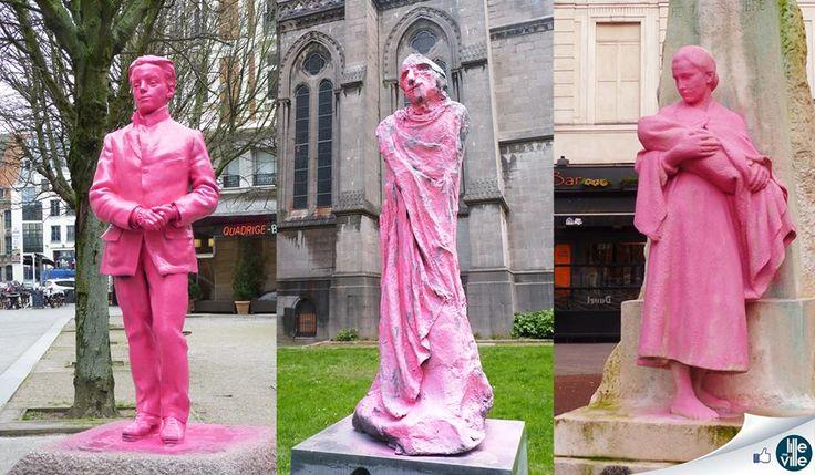 Mars 2014: INSOLITE À LILLE ! Depuis 2 jours, Lille se réveille avec ses statues qui voient la vie en rose ! Peintes de manière illégale en pleine nuit, 3 ont déjà été touchées ! Celle de Léon Trulin à côté de l'Opéra, celle du cardinal Lienard à côté de la cathédrale Notre Dame de la Treille, et celle d'Henri Ghesquière rue Gambetta. Ouvrez l'oeil !  ♡ la page Lille Ma Ville https://www.facebook.com/lillemaville.lille