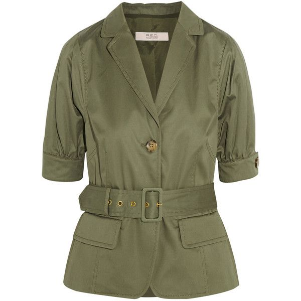 REDValentino Belted cotton-twill jacket ($450) ❤ liked on Polyvore featuring outerwear, jackets, tops, coats, army green, cotton twill jacket, army green jacket, olive jacket, red valentino jacket and green camo jacket