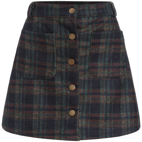 Checkered Pockets Buttons A-Line Skirt (£8.98) ❤ liked on Polyvore featuring skirts, bottoms, romwe, multicolor, colorful skirts, tartan plaid skirt, a line skirt, knee length a line skirt and short a line skirt