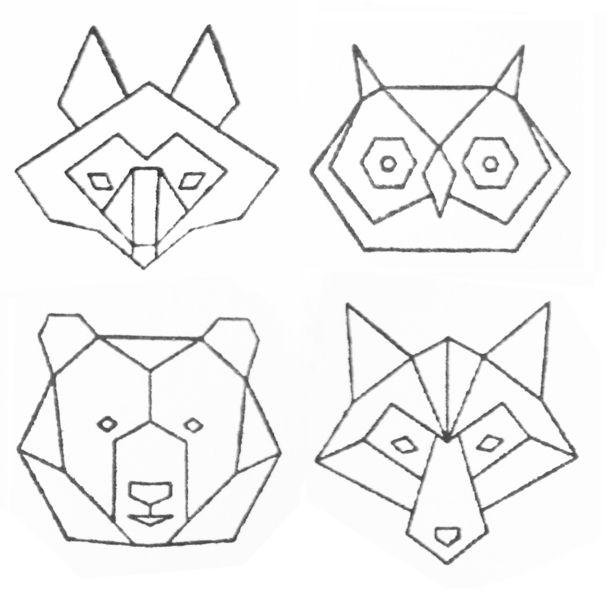Einer von vier tollen Stempeln mit geometrischen Tierköpfen.  Wähle eines von folgenden Motiven:  Wolf Bär Fuchs Eule  Verschönere damit Briefe oder Karten, Geschenkpapier oder Bücher......