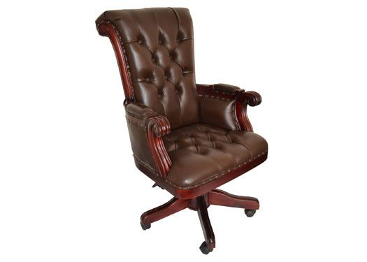 regal brown leather office chair with wood trim