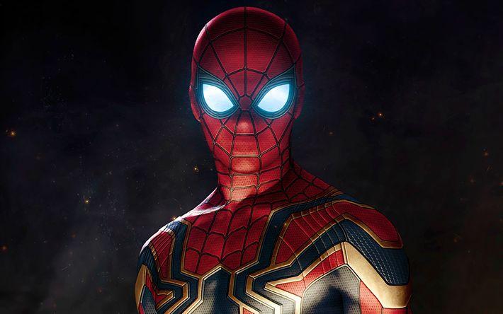 Télécharger fonds d'écran 4k, Spiderman, super-héros, de l'obscurité, 2018 film, Avengers Infinity War