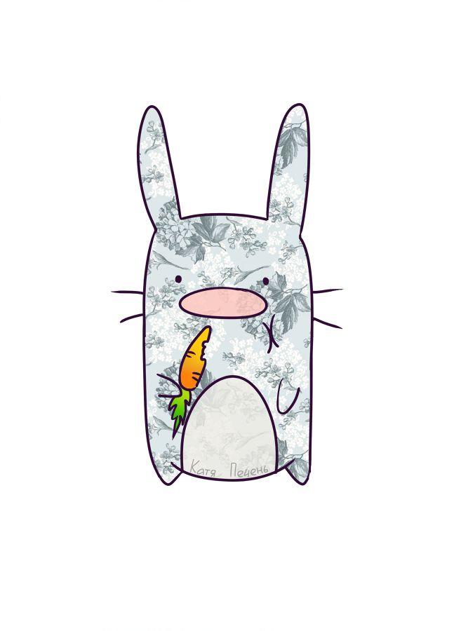 заяц с морковкой, рисунок кролика