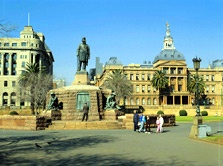 A Respect for Learning - the Arts In Pretoria: Pretoria's cultural history goes back 150 years, and a respect for learning and the arts is reflected in its many museums & art galleries. But the city was also built up by a range of other communities, with its arts showing strong influences from across all of South Africa's diverse population...   Picture: statue of Paul Kruger, the 19th-century president of the old Transvaal republic. (Image: South African Tourism)