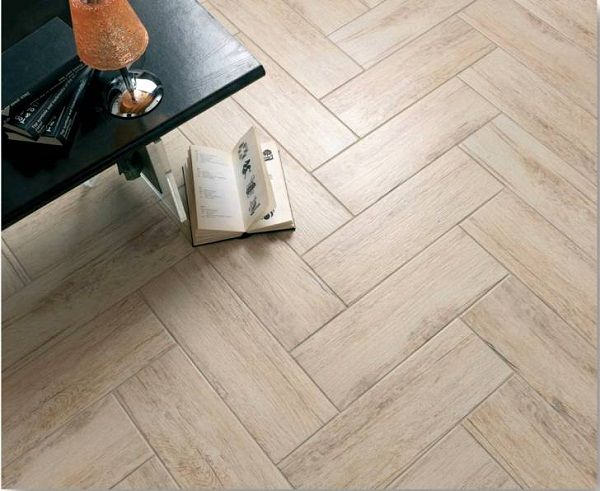 #Herringbone floor tiles with authentic looking #wood feel.  Love this!