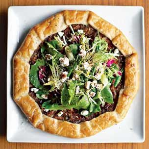 Onion tart with mixed green salad