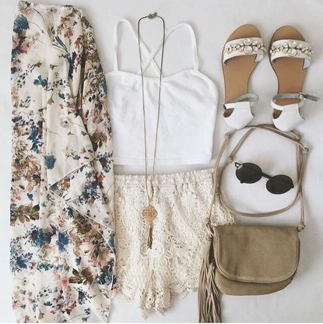 White Top and Cream Lace Shorts with Floral Kimono, White Sandals, and Long Necklace