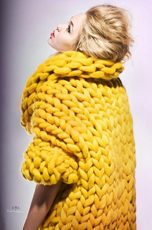 gilet grosse maille jaune moutarde <3