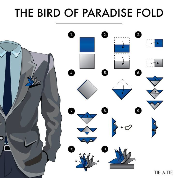 The Bird of Paradise Pocket Square Fold. Fold #37 of 50