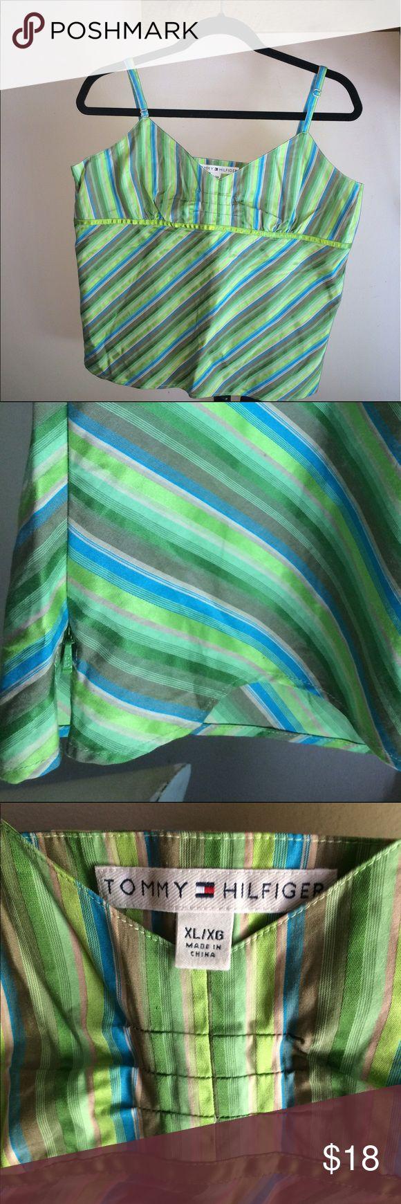 Tommy Hilfiger-Green Cami w/Blue Stripe 🆓B2G1🆓 Tommy Hilfiger-Green Cami w/Blue Diagonal Stripe.                           EUC.                           Measurements: Tommy Hilfiger Tops Camisoles