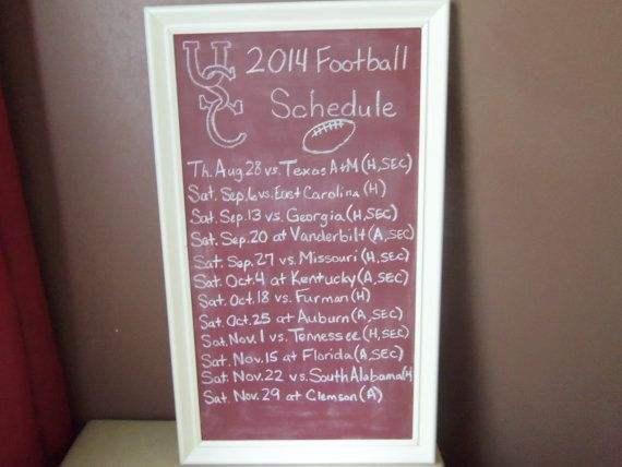 USC Gamecocks Football Schedule Chalkboard by bigdreams1 on Etsy, $40.00