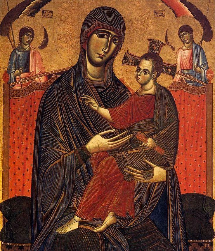 Maestro della Madonna del Carmine (attribuito) - Madonna del Popolo (dettaglio) - tempera su tavola - 1268 circa - Cappella Brancacci (parete di fondo) - Basilica di Santa Maria del Carmine a Firenze