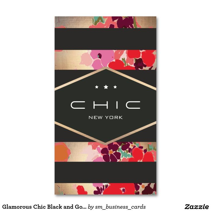 Glamorous Chic Black and Gold Floral Striped Double-Sided Standard Business Cards (Pack Of 100)