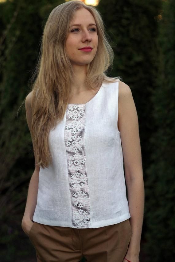 Linen tank is just the perfect look for summer! Natural linen top/blouse with de…