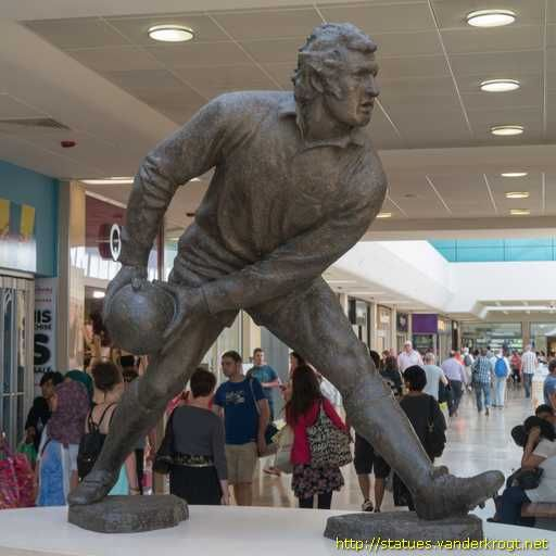 Gareth Edwards statue in the St. David's centre, Cardiff, South Wales, UK