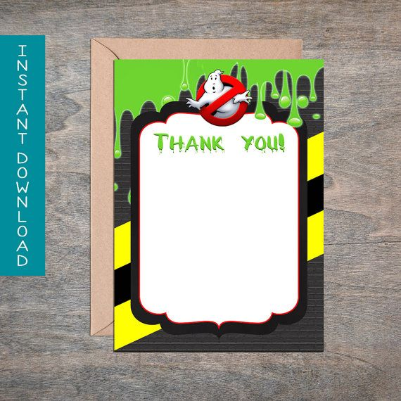 Ghostbusters Thank you card BIRTHDAY by TheLittlePeacockShop