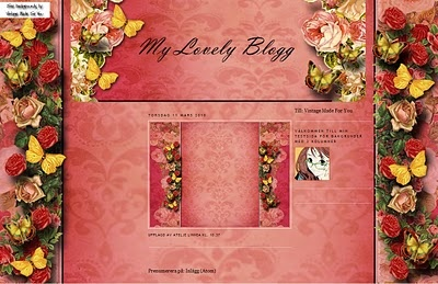 VintageMadeForYou: Free background till Minima 3 kolumner; Pink with butterfly and red roses