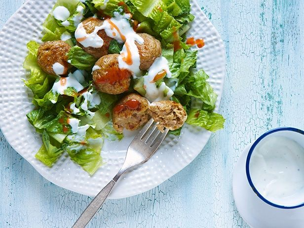 #Chopped-inspired Sausage Falafel with Romaine and Yogurt Sauce #Falafel #Chopped