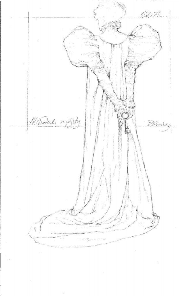 """This image provided by Legendary Pictures and Universal Pictures shows a sketch by costume designer Kate Hawley of the costume for the character Edith Cushing played by Mia Wasikowska for Legendary Pictures' """"Crimson Peak,"""" a gothic romance from director, Guillermo del Toro. (Kate Hawley/Legendary Pictures and Universal Pictures via AP) Photo: Kate Hawley, AP / Legendary Pictures and Universal Pictures"""