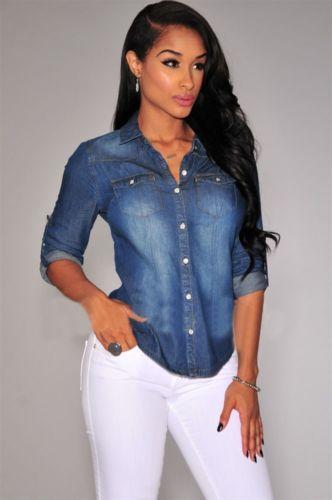 Para Jeans blusas de manga larga femininas 2015 moda ropa casual elegante blusa camisas de mezclilla