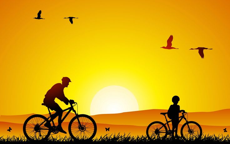 bicycle father with son wallpaper