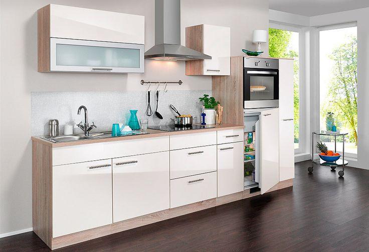 Wiho Küchen Küchenzeile mit E-Geräten »Montana Glanz, Breite 290 - küchenzeile 240 cm mit geräten