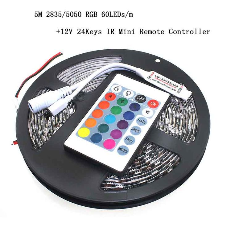 Free Shipping LED Strip RGB SMD 5050/3528 Black/White PCB 5m 300LED+ 12V 24 Keys IR Mini Remote Controller Lamp Light Decoration. Yesterday's price: US $2.33 (1.89 EUR). Today's price: US $2.33 (1.90 EUR). Discount: 20%.