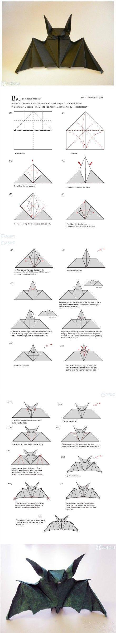 DIY - Bat origami for Halloween (Source : http://www.duitang.com/people/mblog/76799420/detail/) #halloween #bat #origami #diy