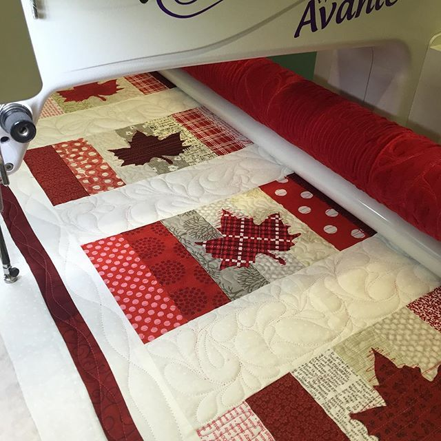 Jumping on the wagon. Canadian flag quilt. Pattern coming soon. I love making a red and white quilt each year. #scrapquilts #handiquilter #canadaday #countrythatilove #sugartownquilts2016